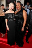 Michelle Williams and activist Tarana Burke arrive to the 75th Annual Golden Globe Awards held at the Beverly Hilton Hotel on January 7, 2018.