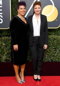 Susan Sarandon and activist Rosa Clemente arrives to the 75th Annual Golden Globe Awards held at the Beverly Hilton Hotel on January 7, 2018.