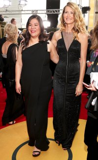 Laura Dern and activist Monica Ramirez arrive to the 75th Annual Golden Globe Awards held at the Beverly Hilton Hotel on January 7, 2018.