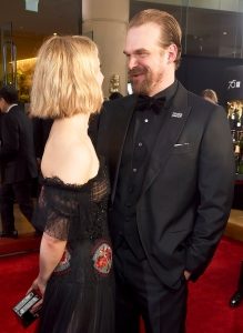 Alison Sudol and David Harbour celebrate The 75th Annual Golden Globe Awards with Moet & Chandon at The Beverly Hilton Hotel on January 7, 2018 in Beverly Hills, California.