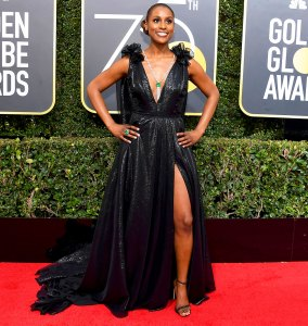 Issa Rae arrives to the 75th Annual Golden Globe Awards held at the Beverly Hilton Hotel on January 7, 2018.
