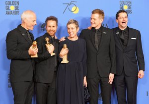 Martin McDonagh, Sam Rockwell, Frances McDormand, Graham Broadbent and Peter Czernin pose with the award for Best Motion Picture Drama for 'Three Billboards Outside Ebbing, Missouri' in the press room during The 75th Annual Golden Globe Awards at The Beverly Hilton Hotel on January 7, 2018 in Beverly Hills, California.