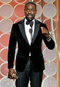 """Sterling K. Brown accepts the award for Best Performance by an Actor in a Television Series – Drama for """"This is Us"""" during the 75th Annual Golden Globe Awards at The Beverly Hilton Hotel on January 7, 2018 in Beverly Hills, California."""
