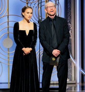 Natalie Portman and Ron Howard speak onstage during the 75th Annual Golden Globe Awards at The Beverly Hilton Hotel on January 7, 2018 in Beverly Hills, California.