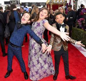 Parker Bates, Mackenzie Hancsicsak and Lonnie Chavis attend the 24th Annual Screen ActorsGuild Awards at The Shrine Auditorium on January 21, 2018 in Los Angeles, California.