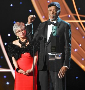 Rita Moreno and Morgan Freeman onstage during the 24th Annual Screen Actors Guild Awards at The Shrine Auditorium on January 21, 2018 in Los Angeles, California.