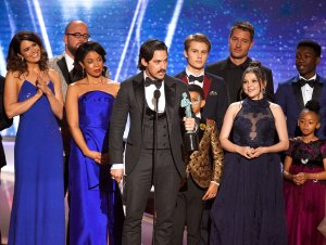 "Milo Ventimiglia and the cast of ""This Is Us"" onstage during the 24th Annual Screen Actors Guild Awards at The Shrine Auditorium on January 21, 2018 in Los Angeles, California"