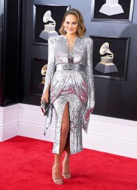 Chrissy Teigen attends the 60th Annual Grammy Awards at Madison Square Garden on January 28, 2018 in New York City.