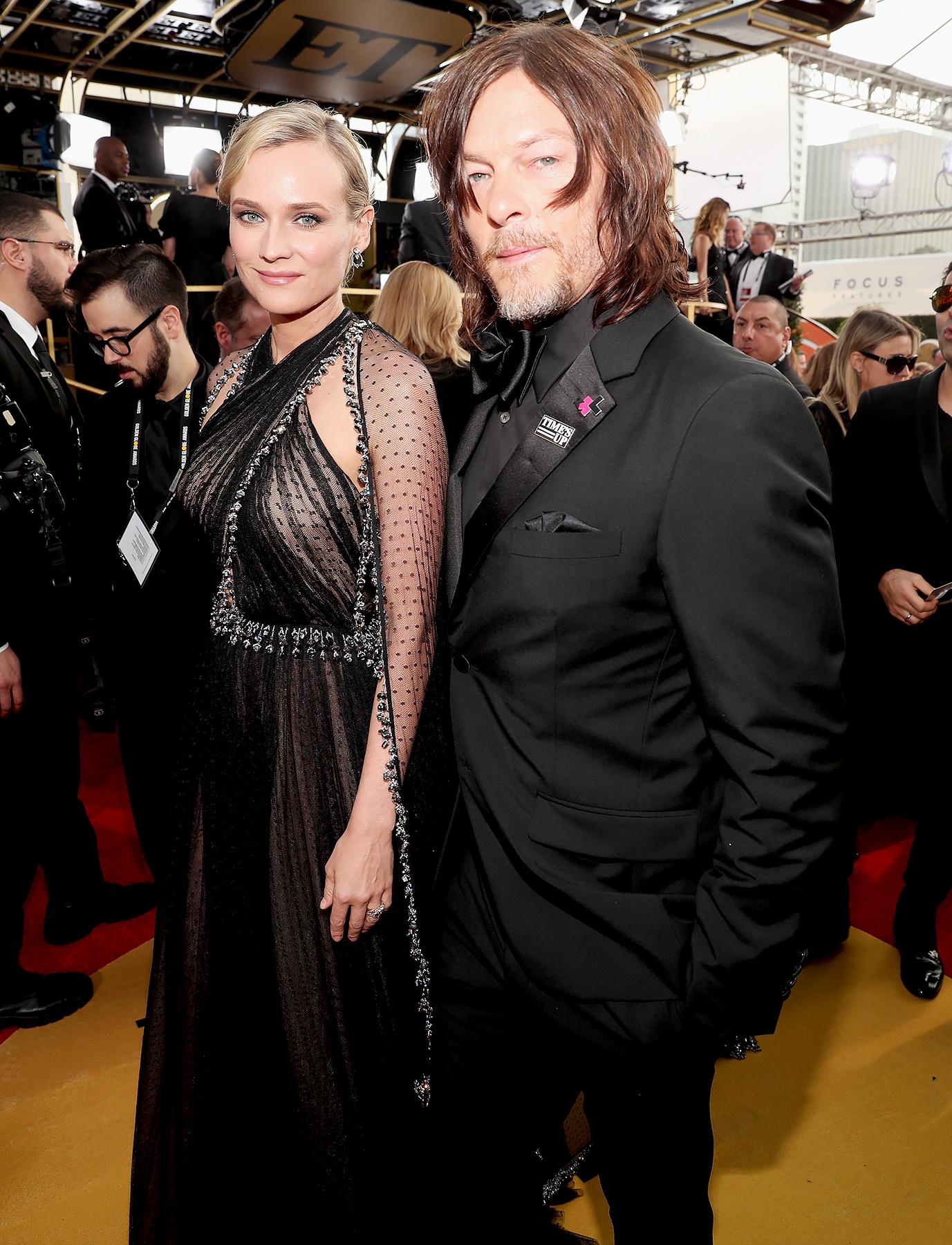 Diane Kruger and Norman Reedus Make Red Carpet Debut at Golden Globes 2018: Kiss Photo