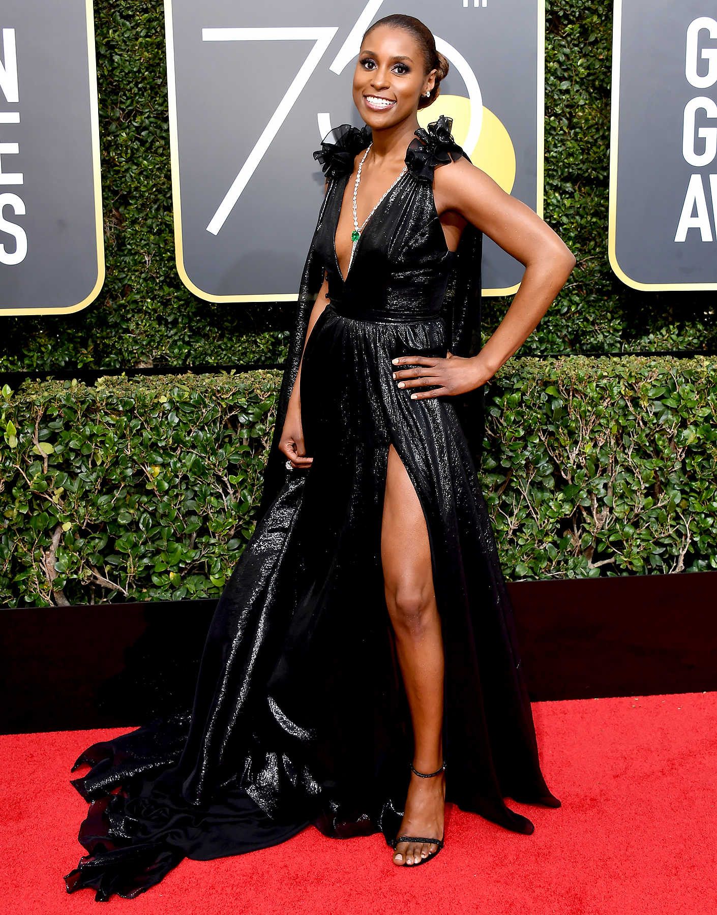 Issa Rae in a slit dress at the 2018 Golden globes