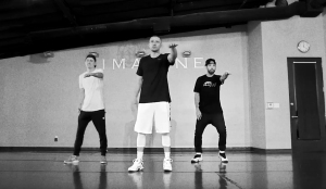 Justin Timberlake and his backup dancers rehearse for the Super Bowl halftime show.