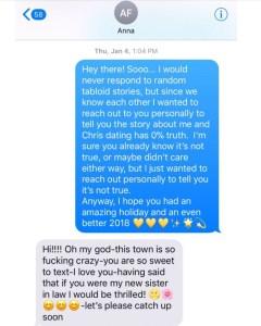 Olivia Munn, Text, Anna Faris, Chris Pratt, Dating