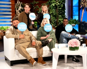 "'The Four: The Battle for Stardom' judges Sean ""Diddy"" Combs, DJ Khaled, Meghan Trainor, music executive Charlie Walk, and host Fergie make an appearance on 'The Ellen DeGeneres Show'"