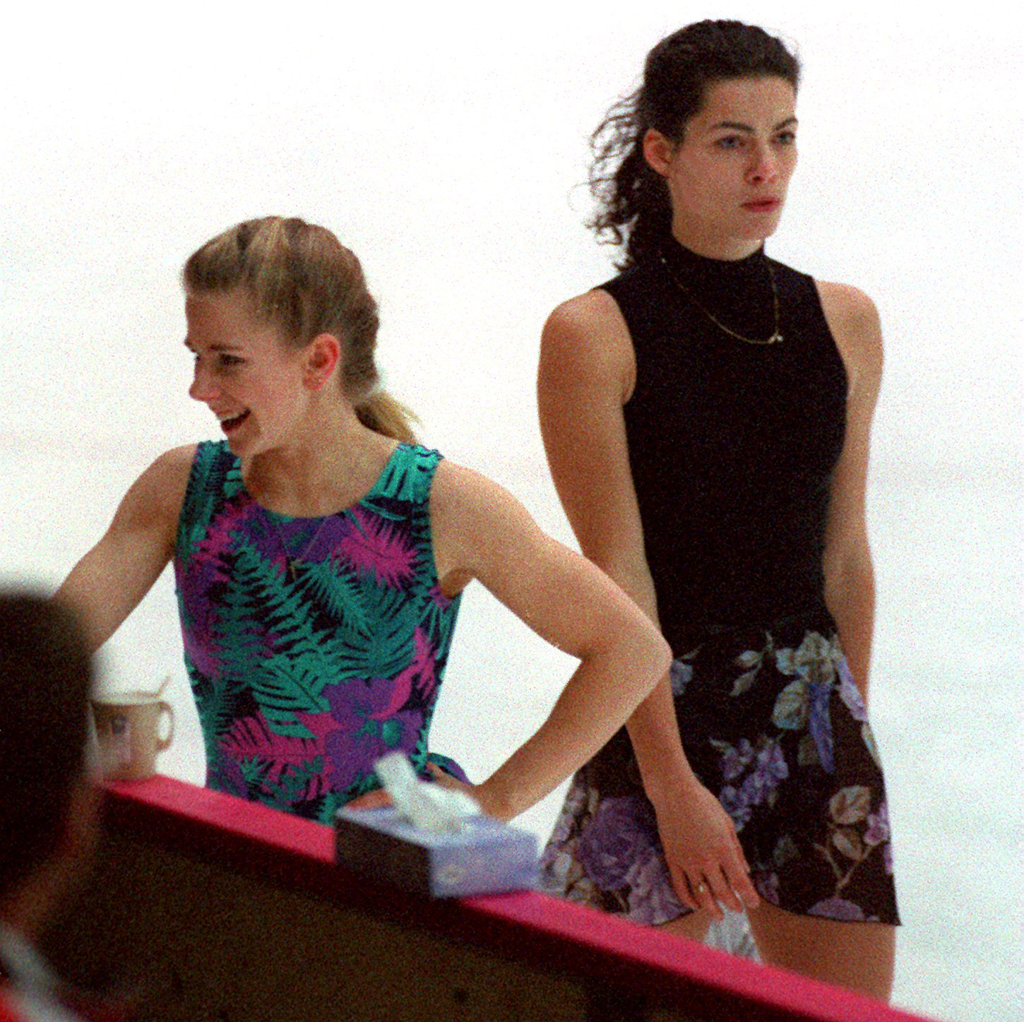 Tonya Harding is passed by Nancy Kerrigan during their first practice session in 1994. John Tlumacki  The Boston Globe via Getty Images