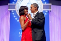 Michelle Obama and Barack Obama dance together during the Inaugural Ball at the Walter Washington Convention Center in Washington, D.C.