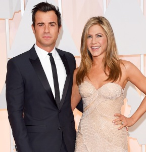 Justin Theroux and Jennifer Aniston attend the 87th Annual Academy Awards at Hollywood & Highland Center on February 22, 2015 in Hollywood, California.