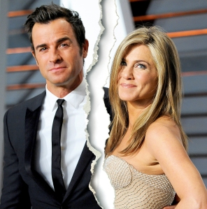 Justin Theroux and Jennifer Aniston attend the 2015 Vanity Fair Oscar Party hosted by Graydon Carter at Wallis Annenberg Center for the Performing Arts in Beverly Hills, California.