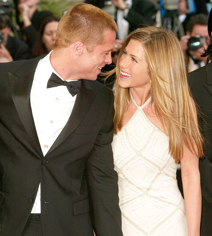 Brad Pitt and Jennifer Aniston attend the 2004 premiere of 'Troy' at Le Palais de Festival in Cannes, France.