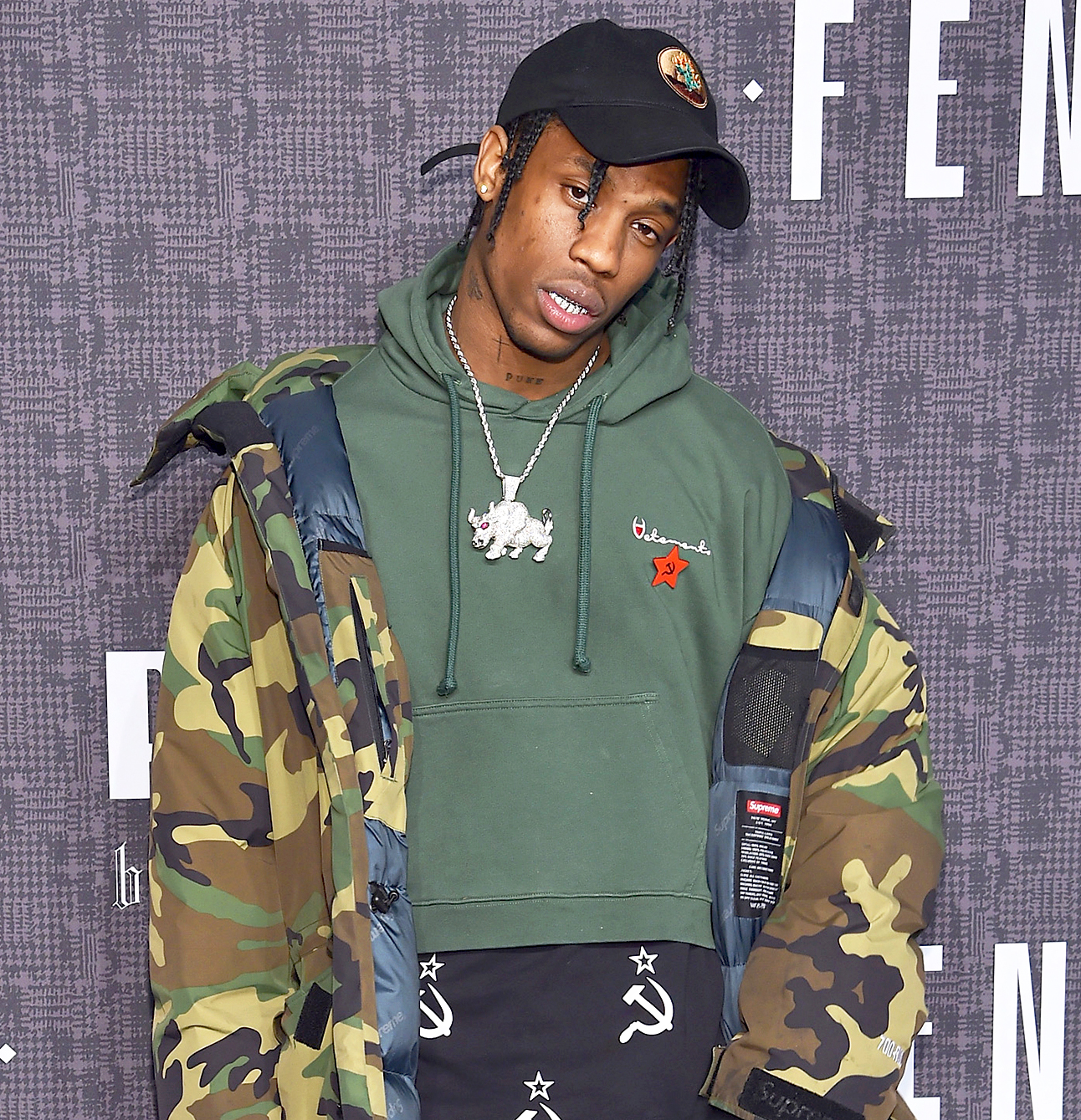 Travis Scott attends the FENTY PUMA by Rihanna AW16 Collection during Fall 2016 New York Fashion Week at 23 Wall Street in New York City.