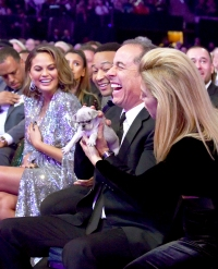 Chrissy Teigen, John Legend, Jerry Seinfeld and Jessica Seinfeld attend the 60th Annual Grammy Awards at Madison Square Garden on January 28, 2018 in New York City.