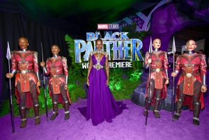 "Lupita Nyong'o attends the premiere of Disney and Marvel's ""Black Panther"" at Dolby Theatre on January 29, 2018 in Hollywood, California."