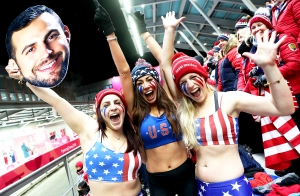Fans of Chris Mazdzer of the United States including his girlfriend Mara Marian and sisters Kate and Sara Mazdzer react following his third run during the Luge Men's Singles on day two of the PyeongChang 2018 Winter Olympic Games on February 11, 2018 in South Korea.