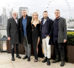 Francis Lawrence, Matthias Schoenaerts, Jennifer Lawrence, Joel Edgerton and Jeremy Irons during the 'Red Sparrow' photocall at The Corinthia Hotel on February 20, 2018 in London, England.