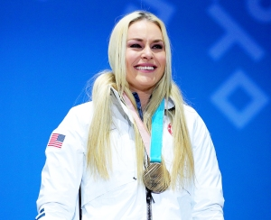 Bronze medallist Lindsey Vonn of the United States celebrates during the medal ceremony for the Ladies' Downhill on day twelve of the PyeongChang 2018 Winter Olympic Games at Medal Plaza on February 21, 2018 in Pyeongchang-gun, South Korea.