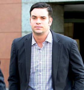 Mark Salling arrives for a court appearance at the Los Angeles courthouse on June 27, 2016.