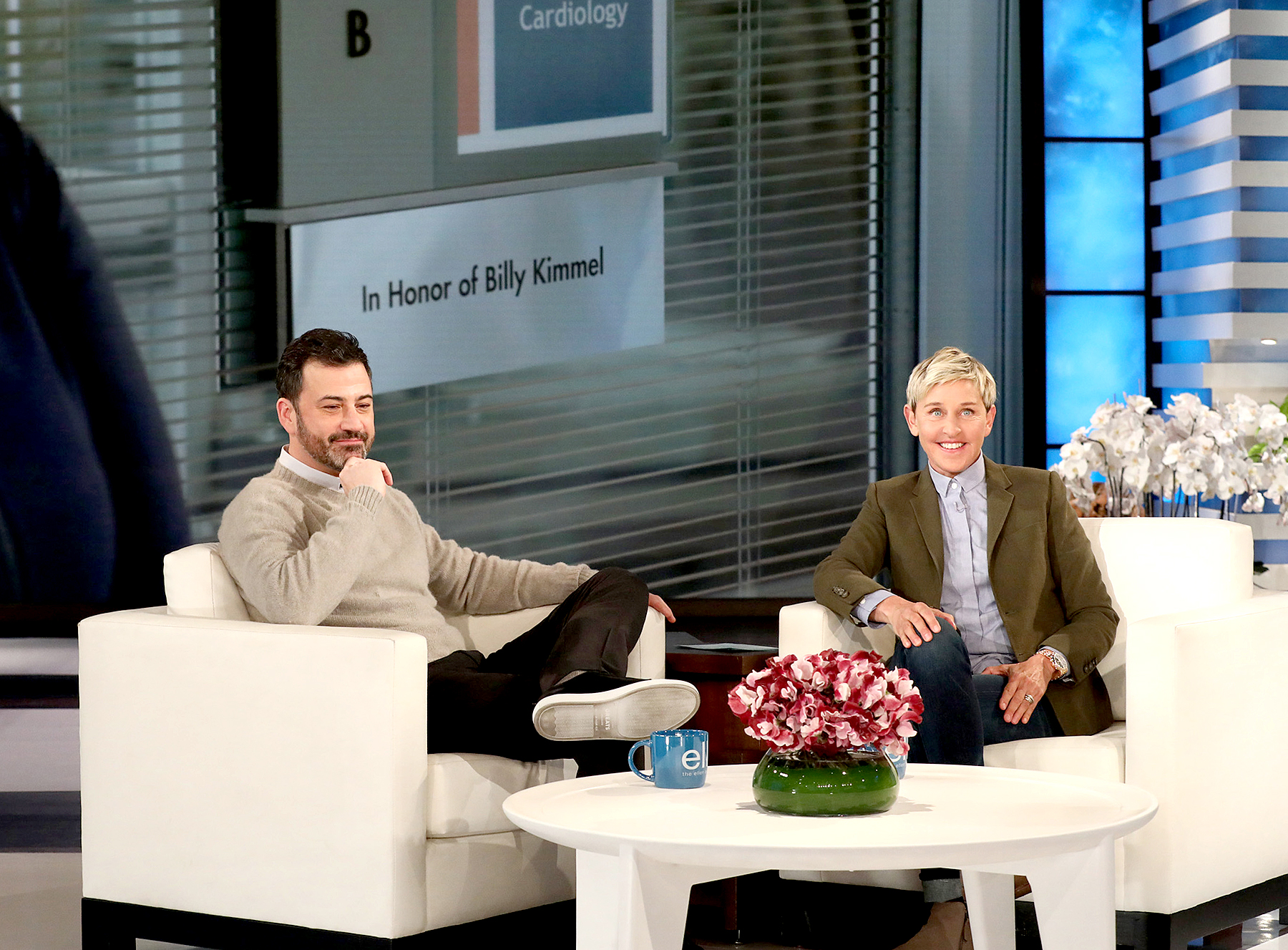 Jimmy Kimmel chokes up as Ellen DeGeneres surprises him with hospital room named after son (usmagazine.com)