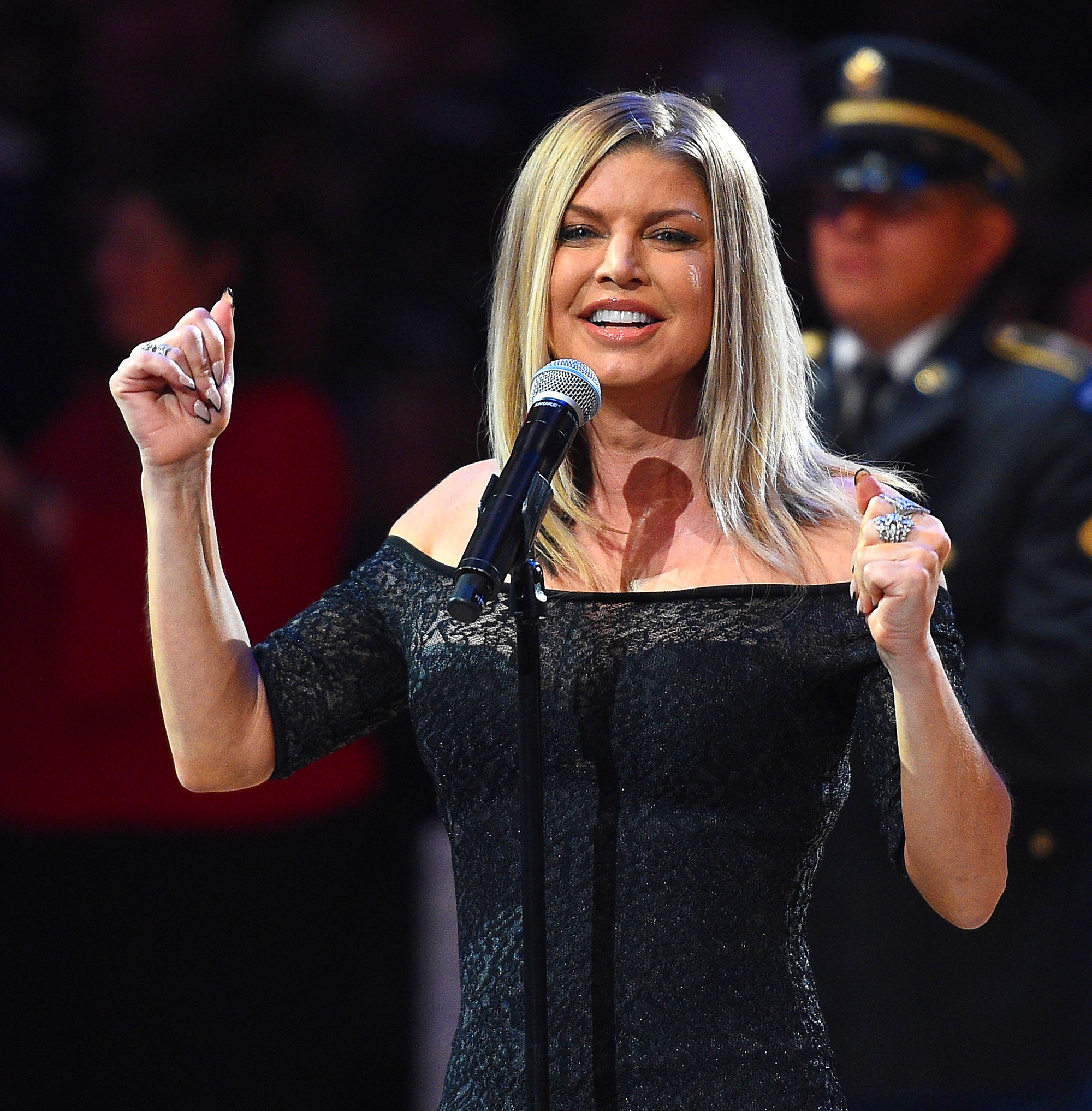 Fergie sings the national anthem prior to the NBA All-Star Game 2018 at Staples Center in Los Angeles on February 18, 2018.