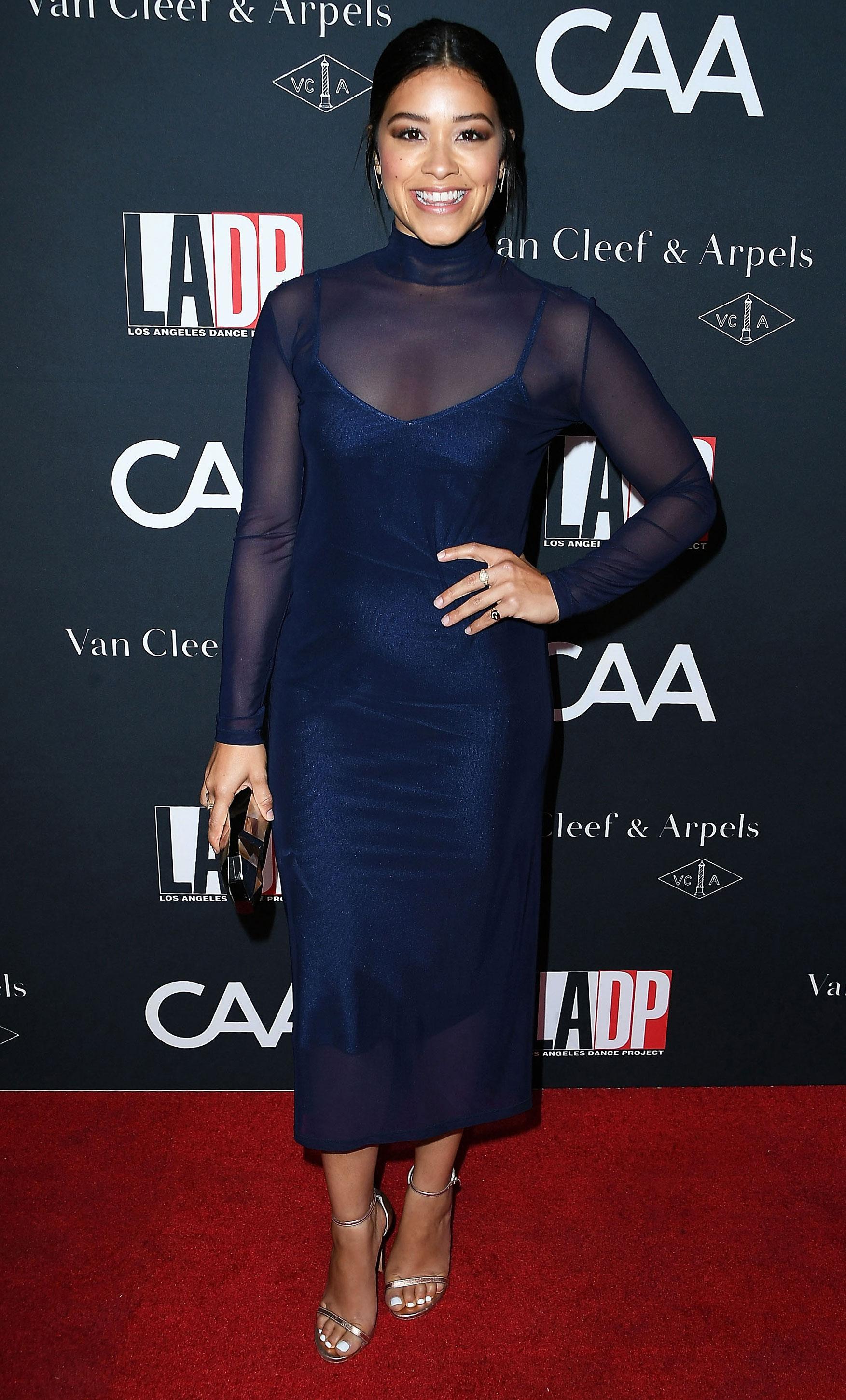 e9805bbce0e6 Celebrities in Navy Dresses: Emma Stone, Margot Robbie, More