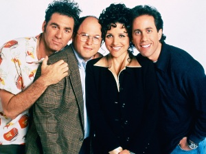 Michael Richards as Cosmo Kramer, Jason Alexander as George Costanza, Julia Louis-Dreyfus as Elaine Benes, Jerry Seinfeld as Jerry Seinfeld