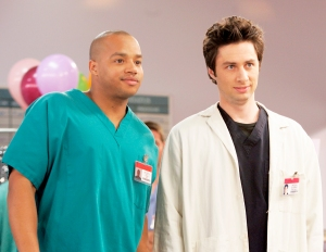 Donald Faison as Dr. Christopher Turk and Zach Braff as Dr. John 'J.D.' Dorian in 'Scrubs'