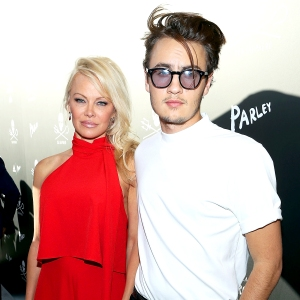 Pamela Anderson and son Brandon arrive to Sea Shepherd's 40th Anniversary Gala for the Oceans at Montage Beverly Hills in Beverly Hills, California.