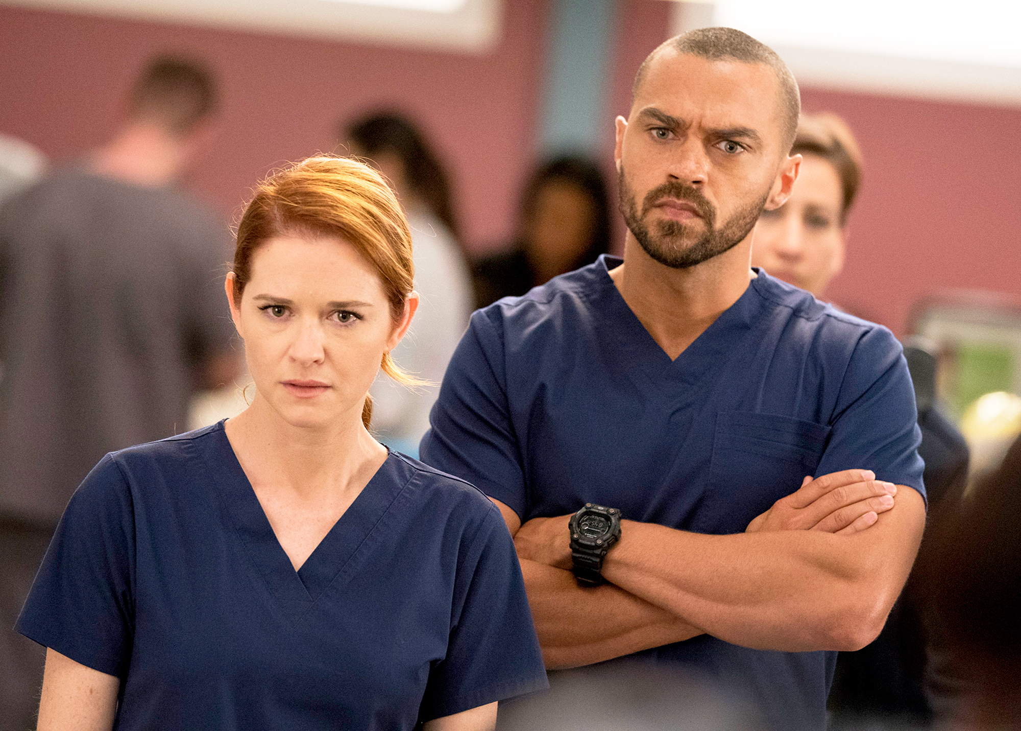 "Jesse Williams and Sarah Drew on 'Grey's Anatomy' Gallery - Jackson grew concerned after April spends too many nights at Joe's bar and is dubbed as ""Dr. Party"" by the new intern class. After Jackson catches wind of the nickname and finds out April has been sleeping with intern Levi, a.k.a, Glasses, he gives him a series of seemingly pointless tasks as a punishment."