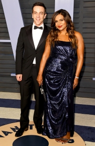 B.J. Novak and Mindy Kaling attend the 2018 Vanity Fair Oscar Party hosted by Radhika Jones at the Wallis Annenberg Center for the Performing Arts on March 4, 2018 in Beverly Hills, California.