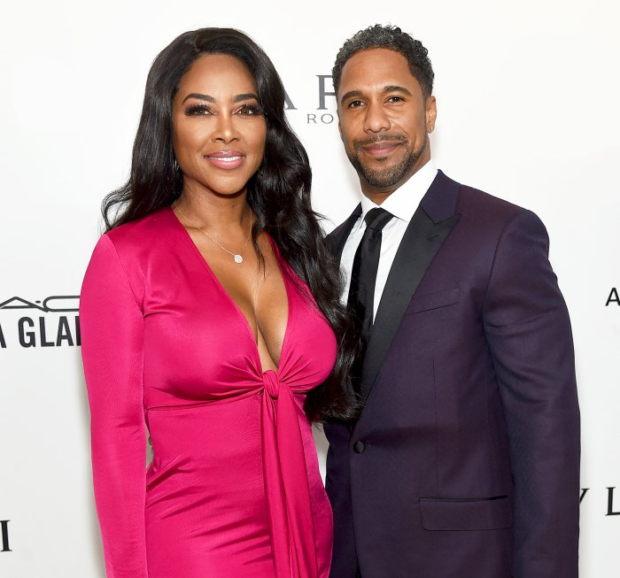 Kenya Moore and Marc Daly attend the 26th annual Elton John AIDS Foundation's Academy Awards Viewing Party at The City of West Hollywood Park in Hollywood, California.