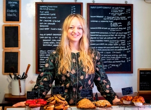 Baker Claire Ptak poses for a photgraph inside her bakery, Violet, in east London on March 20, 2018.