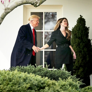 Donald Trump and Hope Hicks outside the Oval Office of the White House in Washington, D.C., on March 29, 2018.