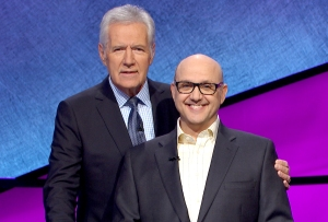 Alex Trebek and Paris Themmen on Jeopardy