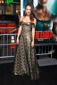 "Alicia Vikander attends the premiere of Warner Bros. Pictures' ""Tomb Raider."""