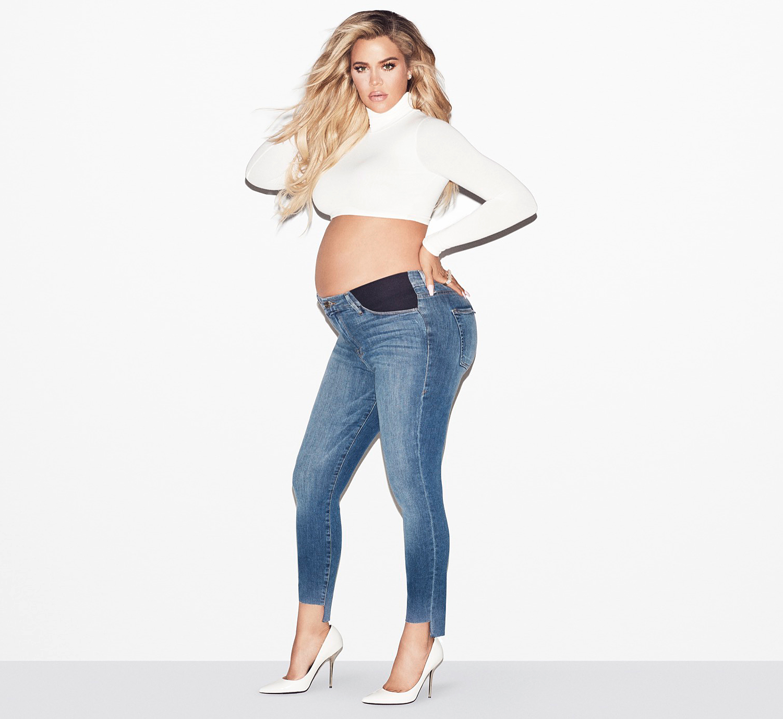 282c949d1c6 Khloe Kardashian Poses Topless for Good American Maternity Line