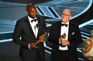 Kobe Bryant and Glen Keane accept Best Animated Short Film for 'Dear Basketball.' oscar 2018
