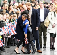 Prince Harry and Meghan Markle Hug Kids at Royal Engagement