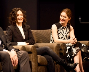 Emma Kenney and Sara Gilbert attend Roseanne premiere event with KABC contest winners on March 23, 2018.