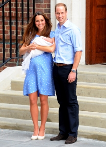 Kate Middleton and Prince William depart The Lindo Wing with their newborn son at St Mary's Hospital on July 23, 2013 in London, England.