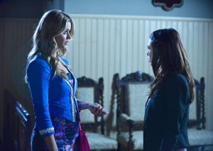 Sasha Pieterse and Janel Parrish in 'Pretty Little Liars'