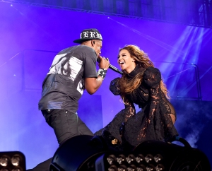 Jay Z and Beyonce perform on stage during the 'On the Run' tour at Soldier Field in Chicago.