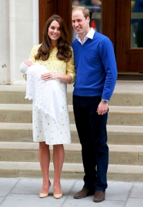 Kate Middleton and Prince William depart the Lindo Wing with their newborn daughter at St Mary's Hospital on May 2, 2015 in London, England.